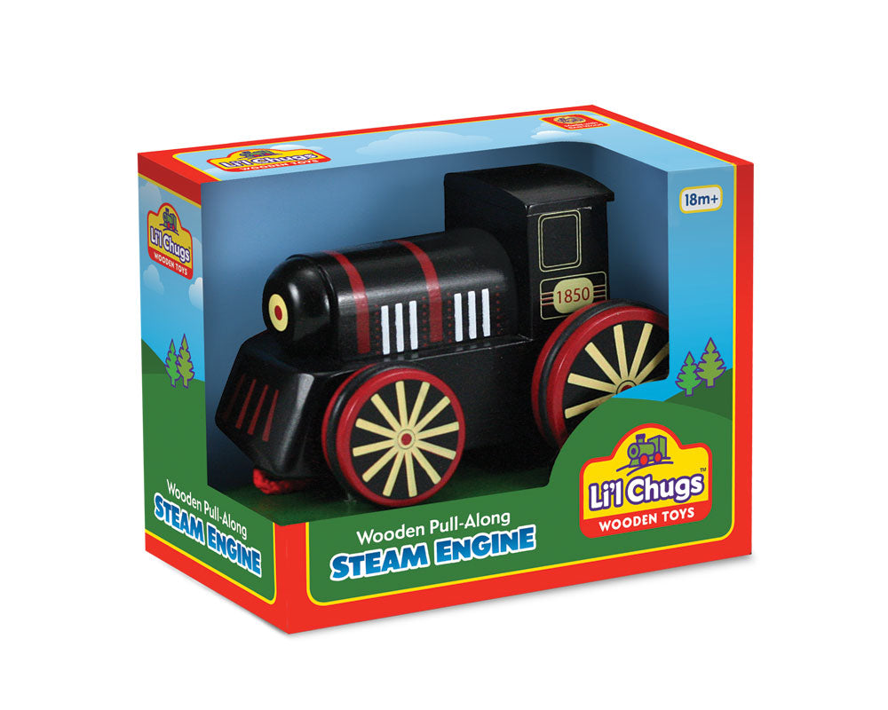 6 Inch Durable Black Wooden Steam Train Engine with Rubberized Rolling Wheels and Red String for Pulling Along in its Original Packaging.