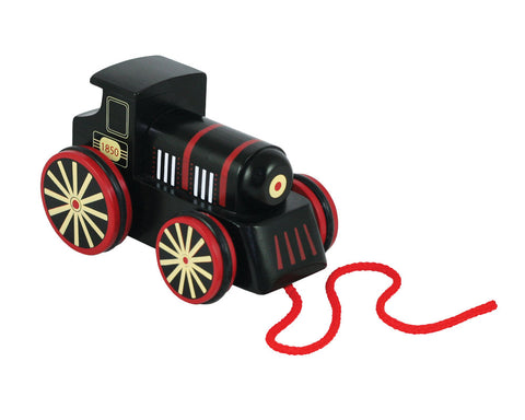 6 Inch Durable Black Wooden Steam Train Engine with Rubberized Rolling Wheels and Red String for Pulling Along. Wood Harvested from Sustainably Managed Forests.