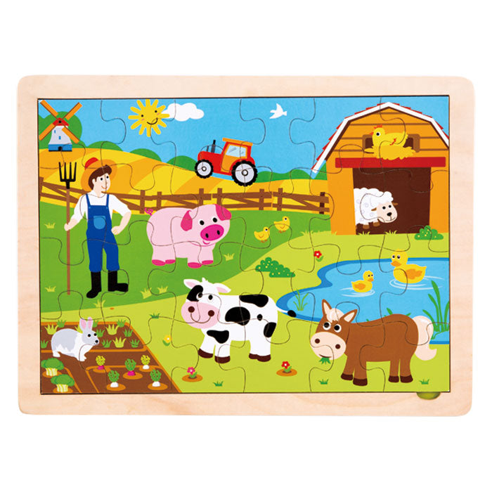 24 Piece Children's Beginner Sturdy Colorful Wooden Jigsaw Puzzle Depicting Various Farm Animals. Wood harvested from government approved reforested land.