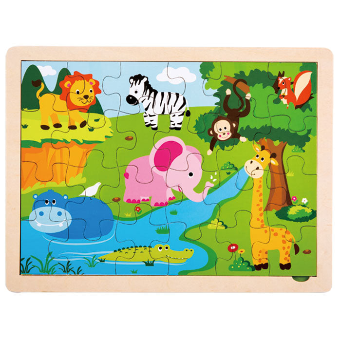 24 Piece Children's Beginner Sturdy Colorful Wooden Jigsaw Puzzle Depicting Various Safari Animals. Wood harvested from government approved reforested land.