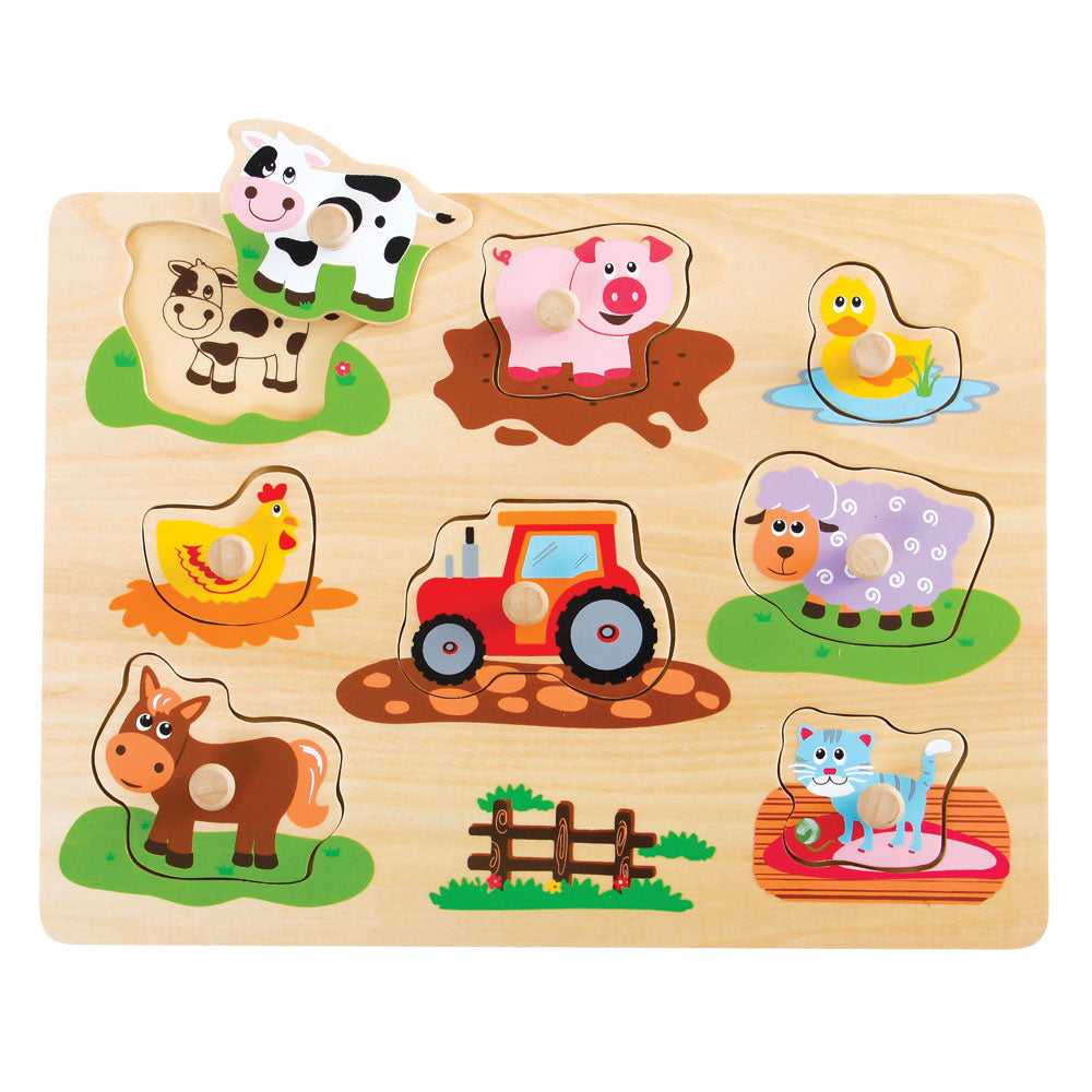Wooden Farm Animals Peg Puzzle