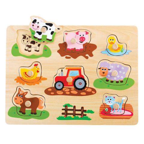 Children's Beginner Sturdy Easy to Grasp Wooden Peg Puzzle with 8 Easy to Identify Farm Animals. Wood harvested from government approved reforested land.