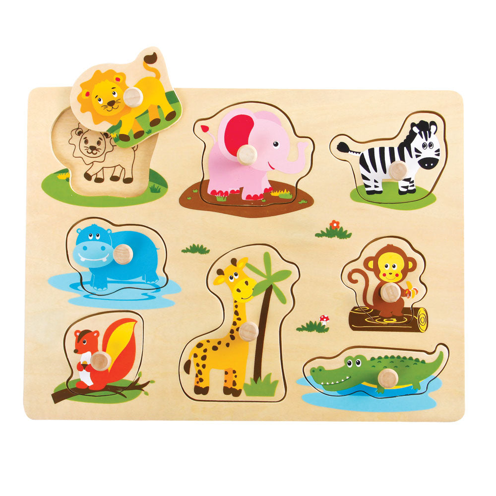 Children's Beginner Sturdy Easy to Grasp Wooden Peg Puzzle with 8 Easy to Identify Safari Animals. Wood harvested from government approved reforested land.