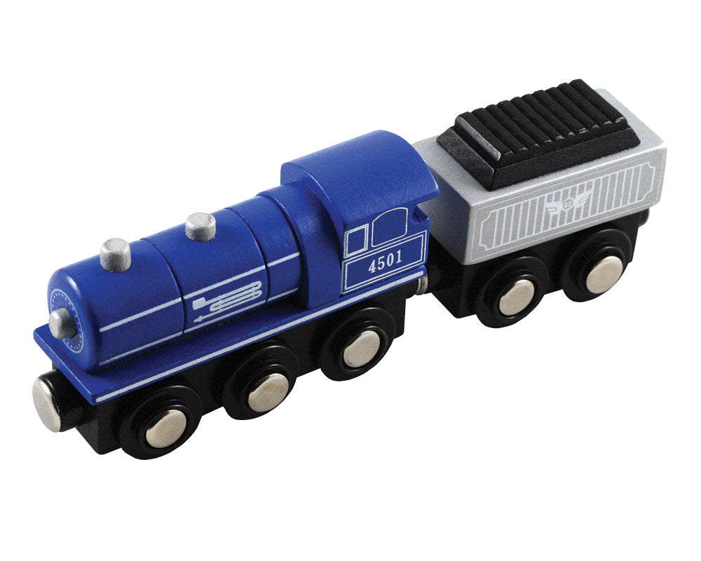 Blue Durable Wooden Train Steam Engine and Coal Tender Car both with Magnetic Connectors on Front & Back compatible with Thomas, Brio and other Wooden Train Sets. Wood Harvested from Sustainably Managed Forests.