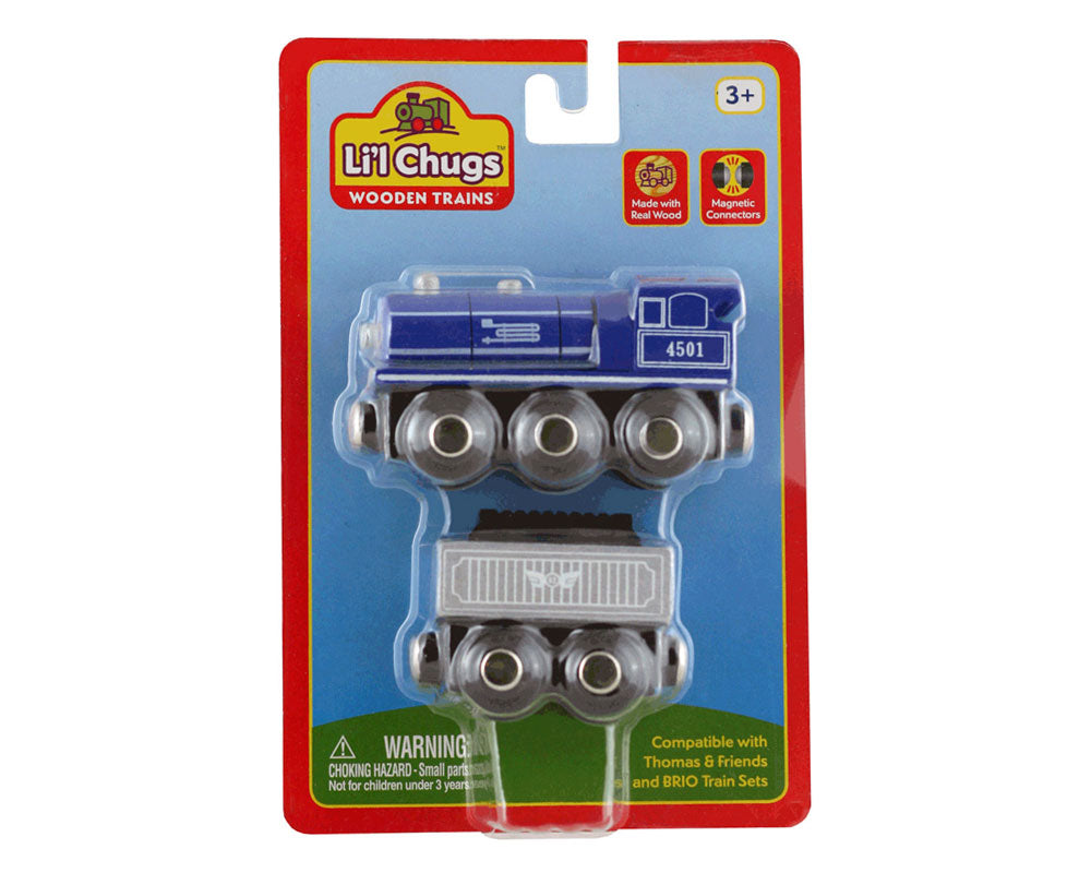 Blue Durable Wooden Train Steam Engine and Coal Tender Car both with Magnetic Connectors on Front & Back compatible with Thomas, Brio and other Wooden Train Sets in its Original Packaging.