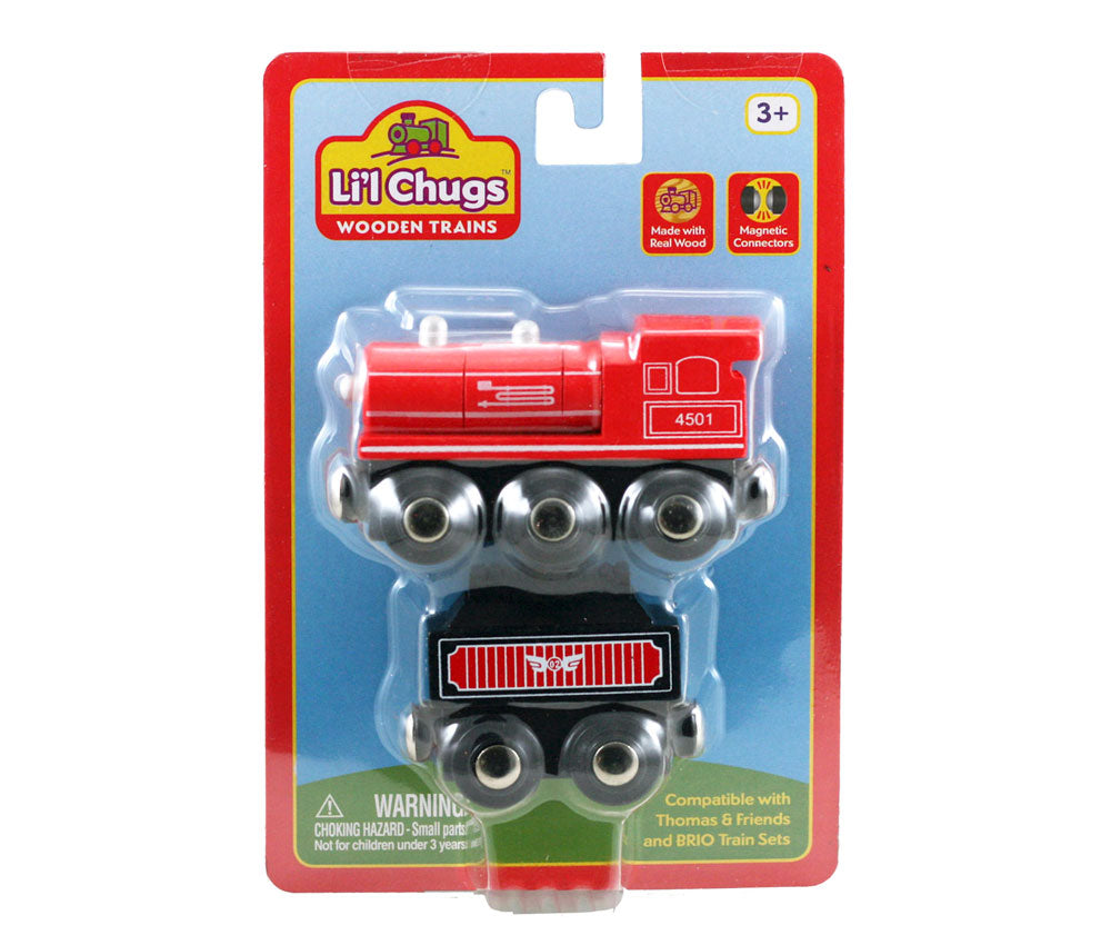 Red Durable Wooden Train Steam Engine and Coal Tender Car both with Magnetic Connectors on Front & Back compatible with Thomas, Brio and other Wooden Train Sets in its Original Packaging.