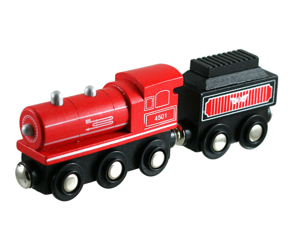 Red Durable Wooden Train Steam Engine and Coal Tender Car both with Magnetic Connectors on Front & Back compatible with Thomas, Brio and other Wooden Train Sets. Wood Harvested from Sustainably Managed Forests.