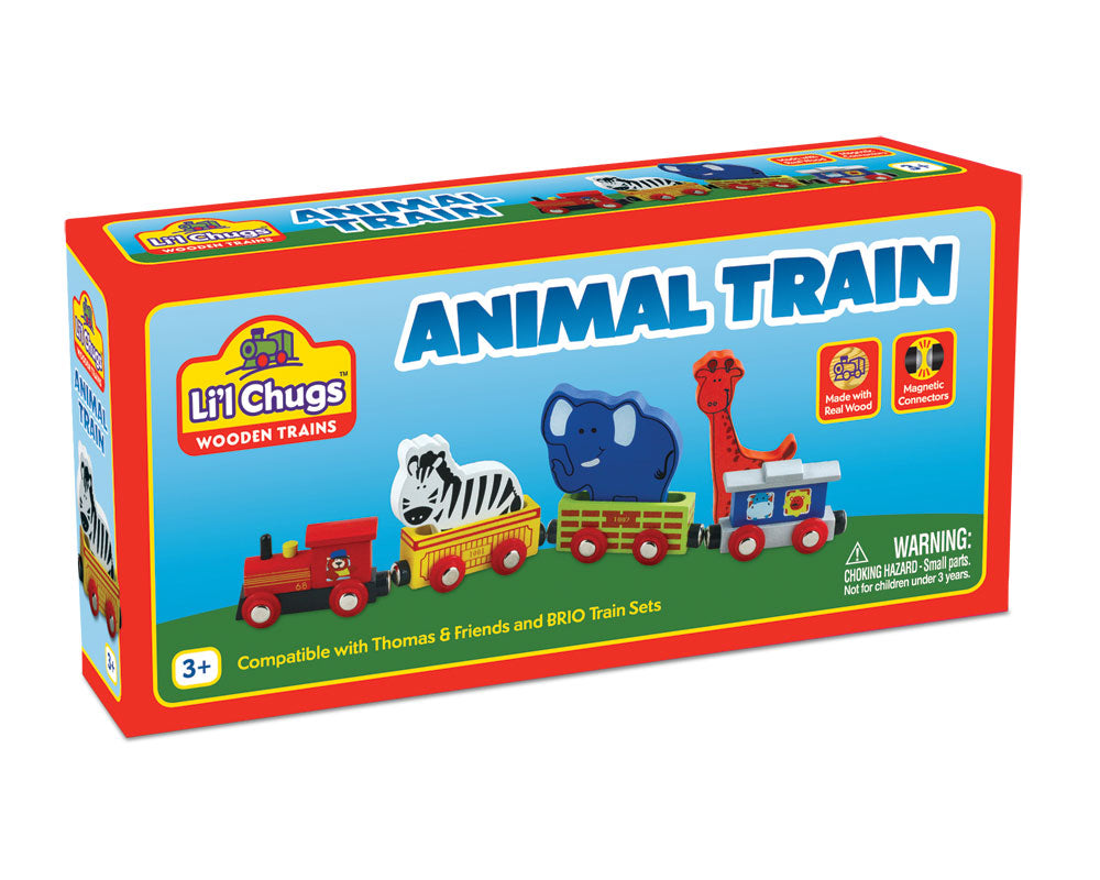 7 Piece Durable Colorful Wooden Zoo Animal Train Set in its Original Packaging.
