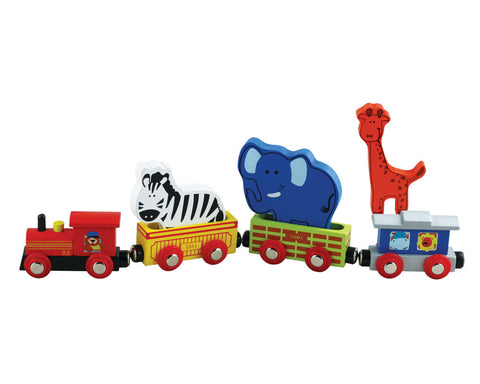 7 Piece Durable Colorful Wooden Zoo Animal Train Set featuring a Lion, Zebra, Elephant, Steam Engine, Caboose, and 2 Colorful Cars that can hold 2 Zoo Animals.