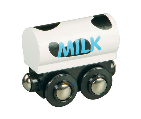Black & White Durable Wooden Train Milk Freight Car with Magnetic Connectors on Front & Back compatible with Thomas, Brio and other Wooden Train Sets. Wood Harvested from Sustainably Managed Forests.