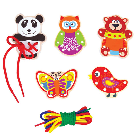 Deluxe Wooden Threading Playset with 5 Colorful Wooden Animals and Various Colorful Shoelaces used to Develop Hand Eye Coordination for Practice when Tying Shoes by Lelin.