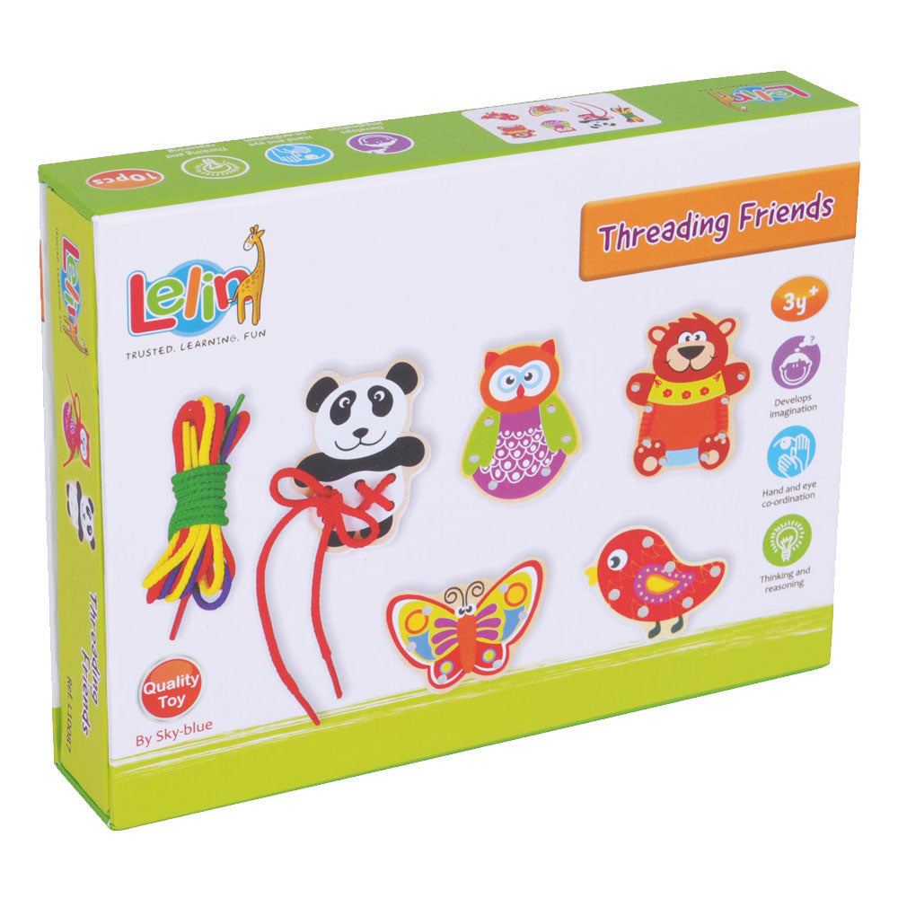 Deluxe Wooden Threading Playset with 5 Colorful Wooden Animals and Various Colorful Shoelaces used to Develop Hand Eye Coordination for Practice when Tying Shoes in its Original Packaging by Lelin.