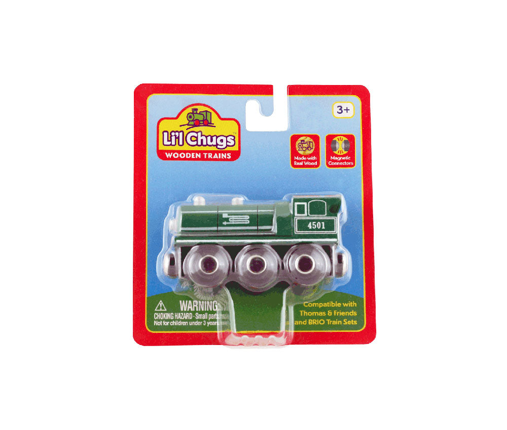 Green 6 Inch Durable Wooden Train Steam Engine with Magnetic Connectors on Front & Back compatible with Thomas, Brio and other Wooden Train Sets in its Original Packaging.