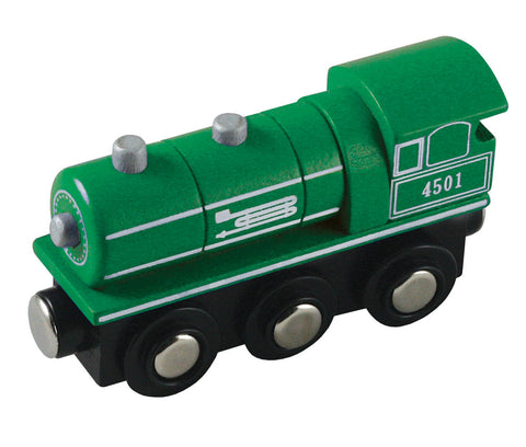 Green 6 Inch Durable Wooden Train Steam Engine with Magnetic Connectors on Front & Back compatible with Thomas, Brio and other Wooden Train Sets. Wood Harvested from Sustainably Managed Forests.