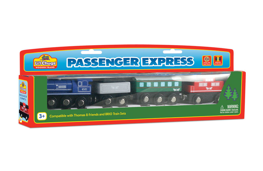 Durable Colorful Wooden Passenger Train Set including Steam Engine, Coal Tender, Passenger Car and Classic Red Caboose in its Original Packaging.