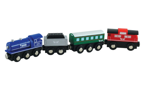 Durable Colorful Wooden Passenger Train Set including Steam Engine, Coal Tender, Passenger Car and Classic Red Caboose with Magnetic Connectors on Front & Back compatible with Thomas, Brio and other Wooden Train Sets.