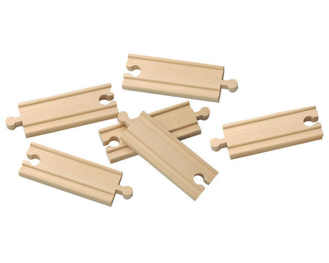 SET of 6 Six Inch Durable Straight Reversible Wooden Train Track with Grooves on Both Sides compatible with Thomas, Brio and other Wooden Train Sets. Wood Harvested from Sustainably Managed Forests.