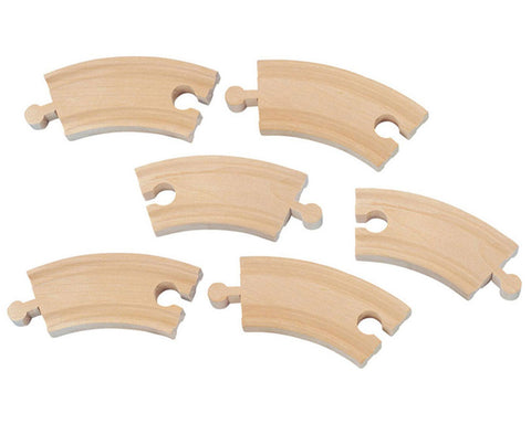 SET of 6 Six Inch Durable Curved Reversible Wooden Train Track with Grooves on Both Sides compatible with Thomas, Brio and other Wooden Train Sets. Wood Harvested from Sustainably Managed Forests.