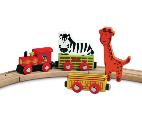 Durable Colorful Wooden Zoo Animal Train Set featuring a Lion, Giraffe, Steam Engine, and 2 Colorful Cars that can hold 2 Zoo Animals and Comes with 8 Pieces of Wooden Curved Track to create a Circle.