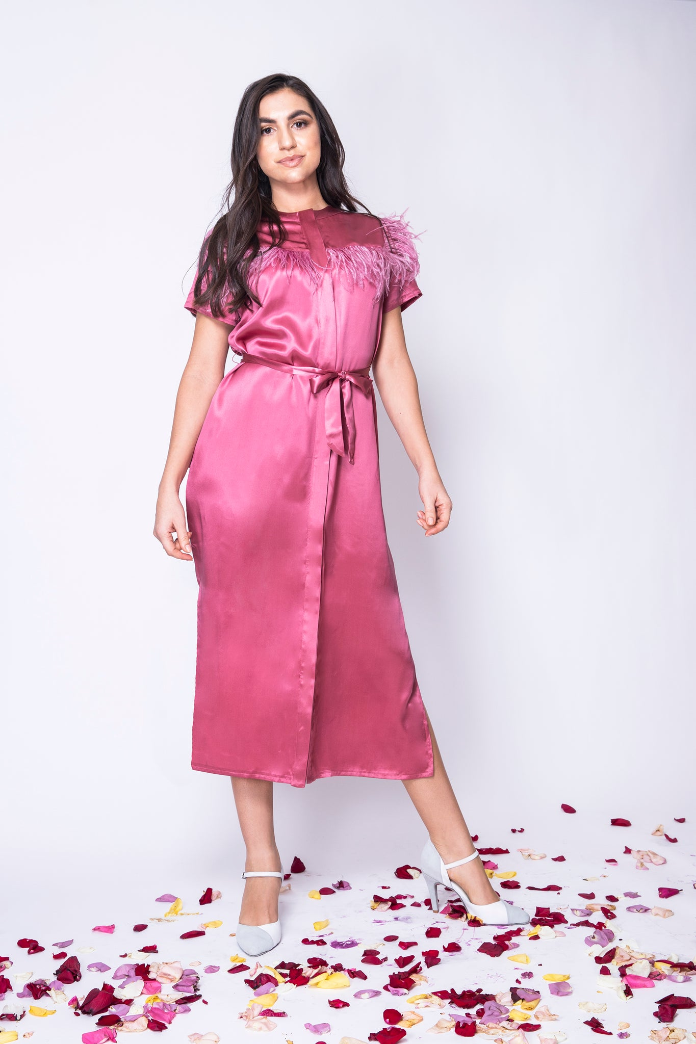 Dusty Rose Long Shirt Dress With Feathers