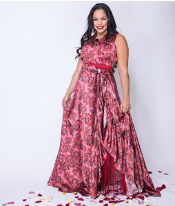 Ravishing Red Rose Gown Rental (Two Piece)