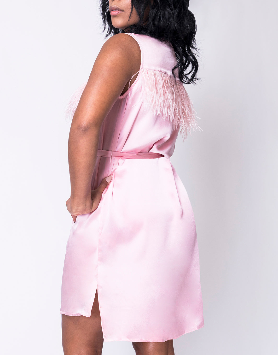 Soft Pink Shirt Dress With Feathers