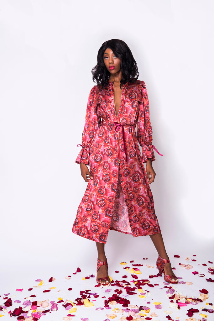 Ravishing Red Rose Robe Dress