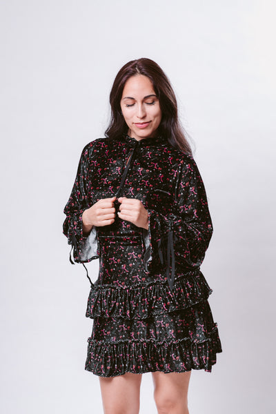 Pink Ribbons in Midnight Gardens Ruffle Velvet Dress