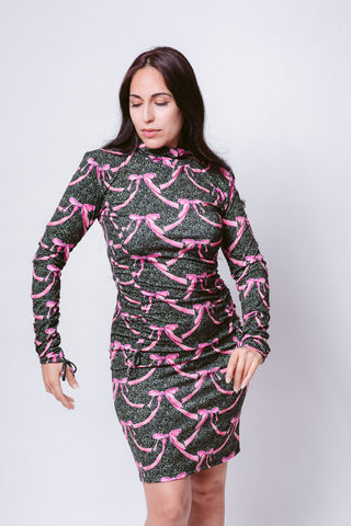 Pink Ribbons in Midnight Meadows Rusched Fitted Dress