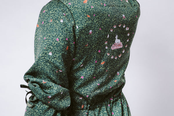 Unicorn in Midnight Gardens Silk Robe