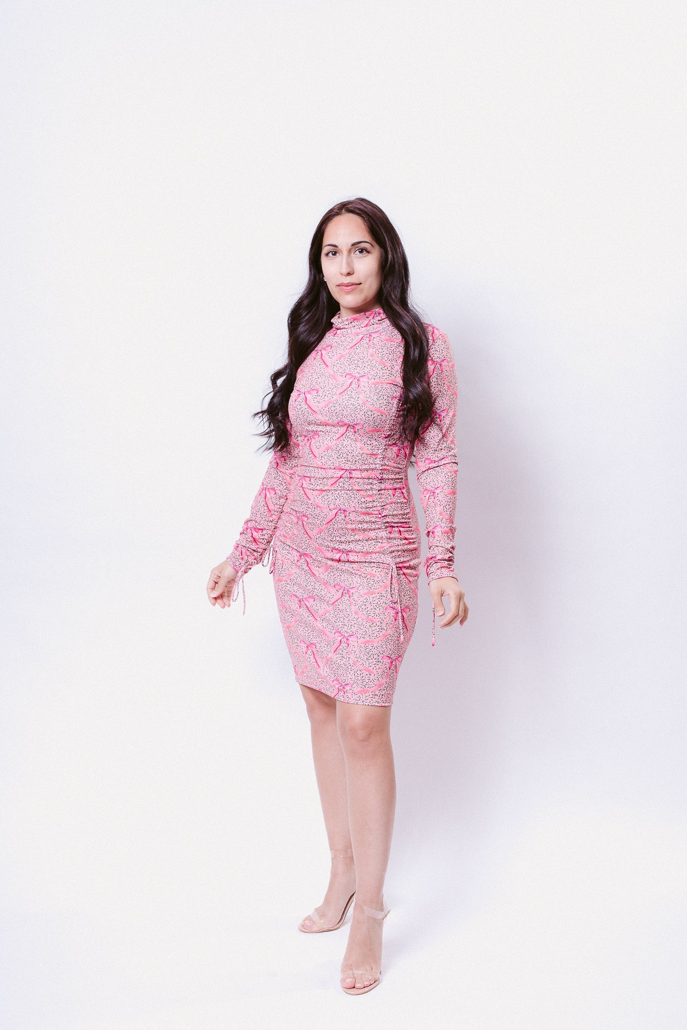 Pink Ribbons in a Meadow Rusched Fitted Dress