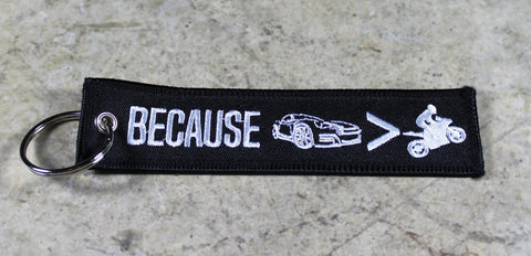 Because Car > Bike - Original MotoMinds Key Tag