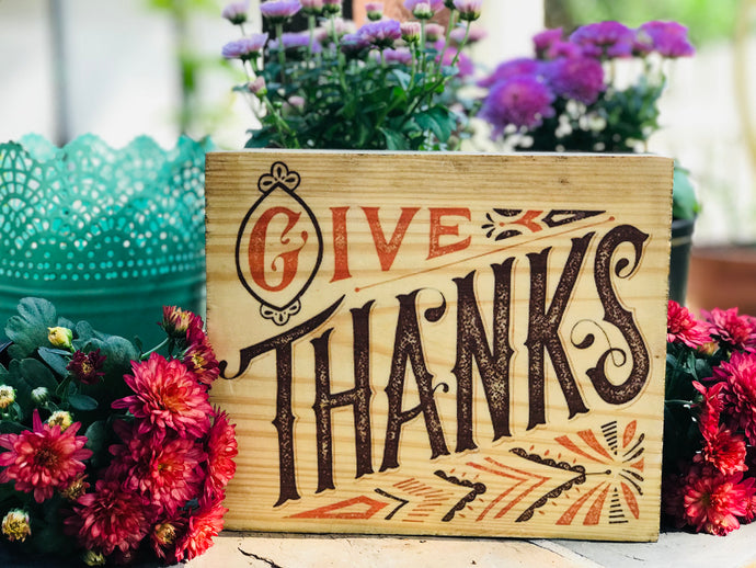 Give Thanks Wooden Decor