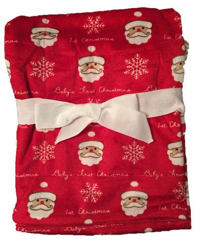 "NEW! ""Baby's 1st Christmas"" Minky Blanket with Santas"