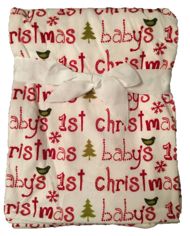 "NEW! ""Baby's 1st Christmas"" Minky Blanket with Christmas Trees"