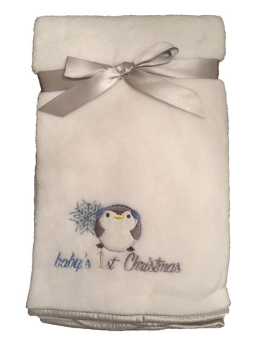 "NEW! ""Baby's 1st Christmas"" Fleece Blanket with Penguin Applique - White/Baby Blue Trim"