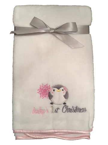 "NEW! ""Baby's 1st Christmas"" Fleece Blanket with Penguin Applique - White/Baby Pink Trim"