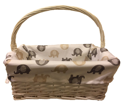 White Basket with Elephants Lining