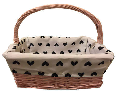 Pink Basket with White & Black Hearts Lining
