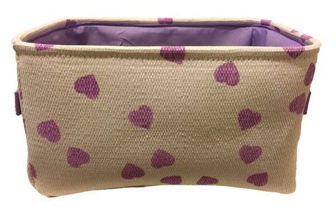 White & Purple Hearts Storage Bin with Purple Lining
