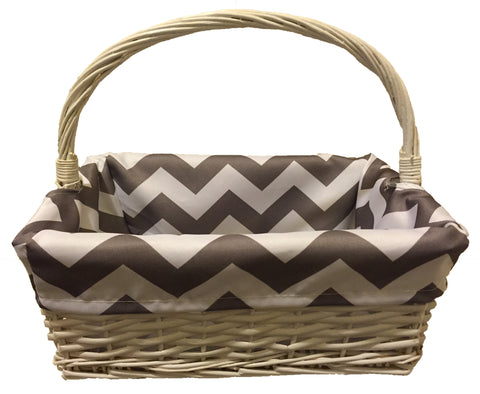 Cream Basket with White & Grey Chevron Lining