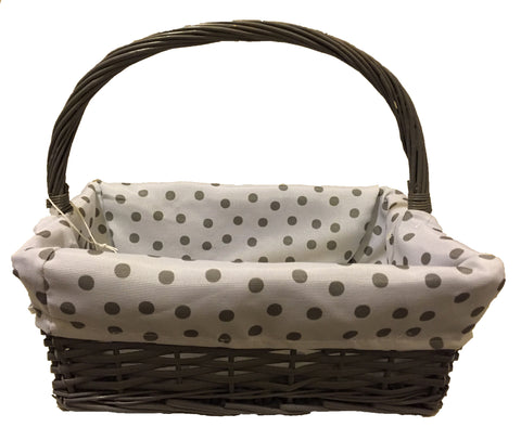 Grey Basket with White & Grey Polk-a-Dot Lining