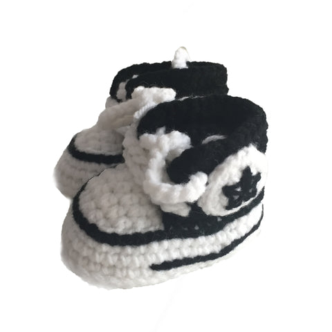 "Crochet ""Converse"" Black Baby Booties"