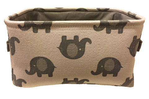White & Grey Elephants Storage Bin with Grey Lining