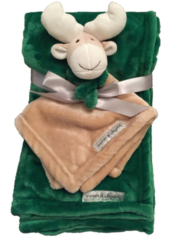 NEW! Fleece Christmas Blanket with Matching Reindeer Lovie - Green