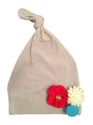 Cotton Baby Girl Hat - Grey with Flowers
