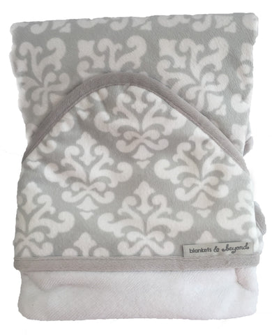 Hooded Towel - Unisex Baby Grey/White Pattern