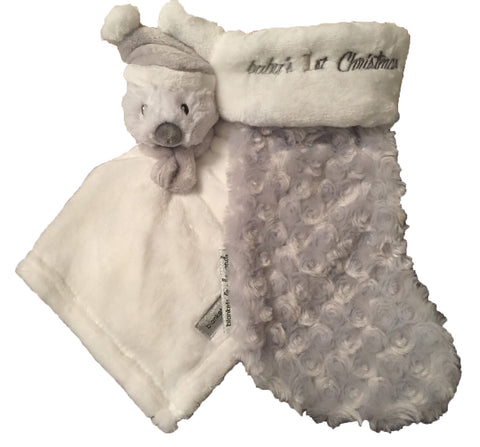 """Baby's 1st Christmas"" Lovie/Socking Set - Grey"