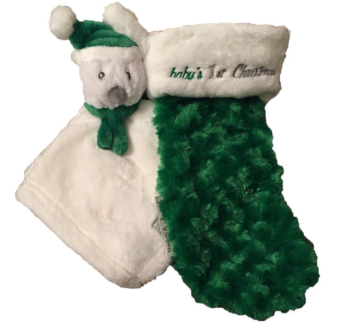 """Baby's 1st Christmas"" Lovie/Socking Set - Green"