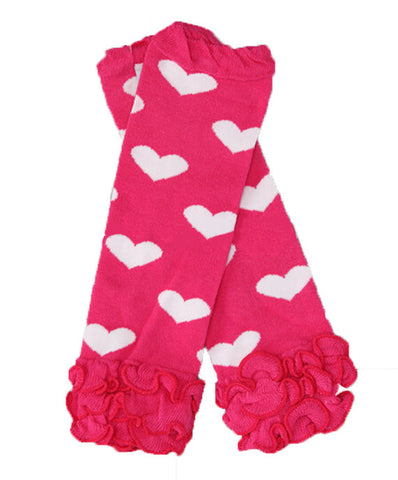 Ruffled Leg Warmers - Pink with Hearts